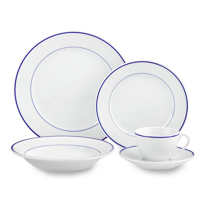 Apilco Tradition Blue-Banded Porcelain 5-Piece Dinnerware Place ...