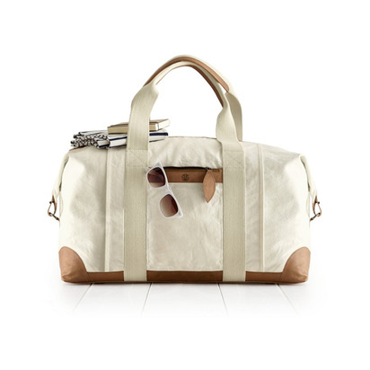 Canvas with Leather Weekender Bag - Natural