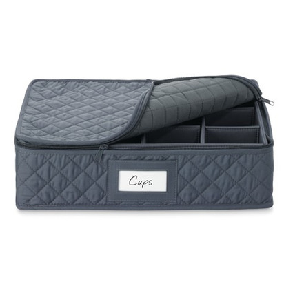 Bon Quilted China Storage Cases, Cups, Gray