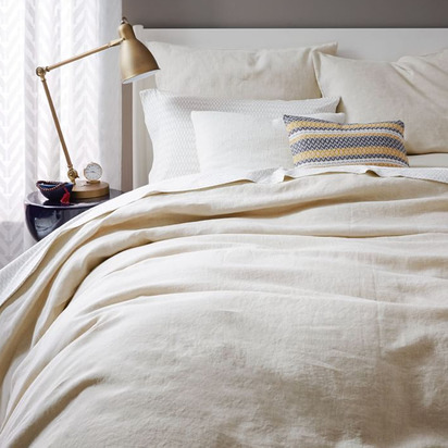 Belgian Linen Duvet Cover, Full/Queen - Natural Flax