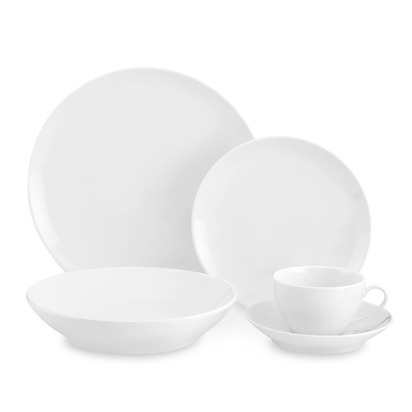 Pillivuyt Coupe Porcelain Dinnerware Place Settings - 5 Piece Place Setting