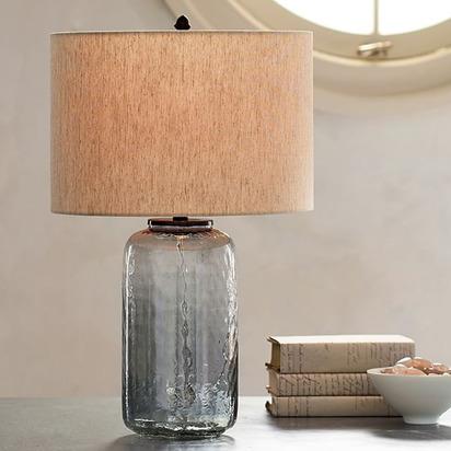 CFL Alana Glass Cylinder Table Lamp - Indigo