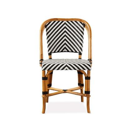 Parisian Bistro Woven Side Chair - Single,  Black/White