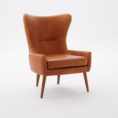 Erik Leather Wing Chair - Burnt Sienna