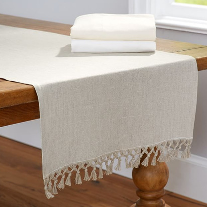 Fringed Linen Knotted Runner - Flax
