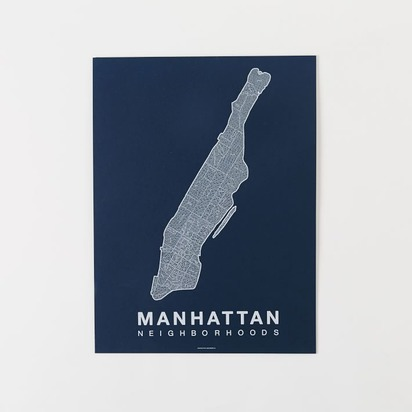 Native Maps - Manhattan Print - White + Navy