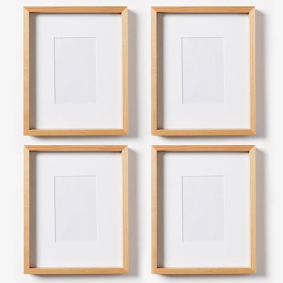 Thin Wood Gallery Frame, Bamboo, Set Of 4, 8.5