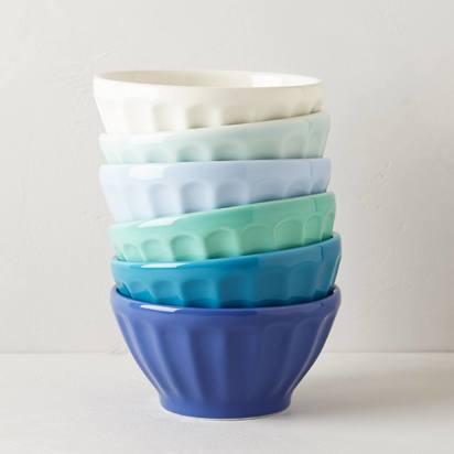 Assorted Latte Bowls Set - Set of 6, Blue