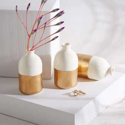 Honeycomb Studio Bud Vases - Set of 3, Gold