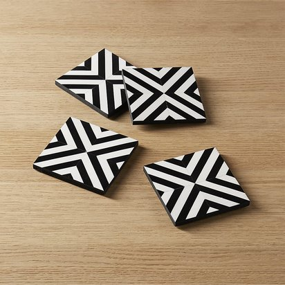 Inlay Wood Black and White Coasters, Set of 4