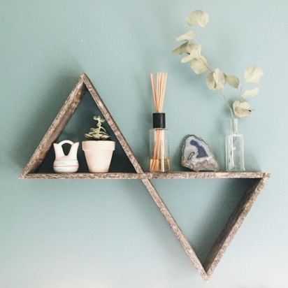 Sarah justin blueprint registry reclaimed wood double triangle shelf malvernweather Gallery