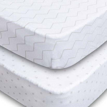 Crib Sheets, 2 Pack Fitted Soft Jersey Cotton Sheet - Chevron and Stars
