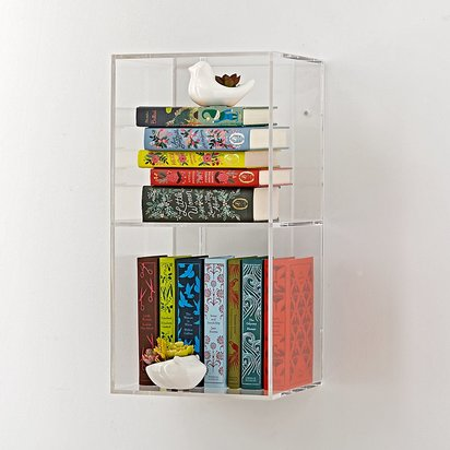 Now You See It 2-Bin Acrylic Shelf Bookcase