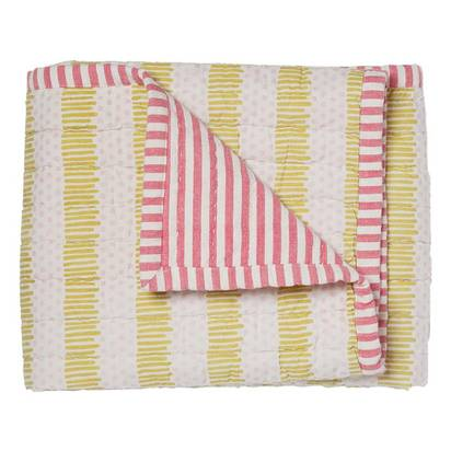 Hug Me Tight' Cotton Baby Blanket - Pink/Citron