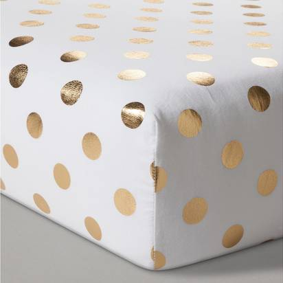 Fitted Crib Sheet Dots - Cloud Island™ - Gold