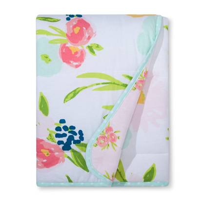 Jersey Knit Reversible Baby Blanket Floral - Cloud Island™ - Pink