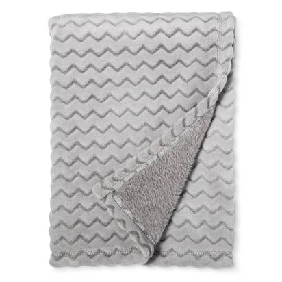 Plush Embossed Baby Blanket Chevron - Cloud Island™ - Gray