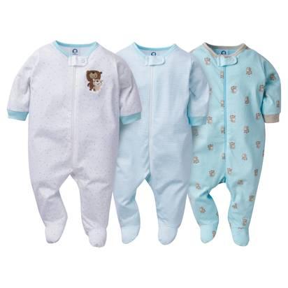 Baby's' 3pk Zip Front Sleep N' Play Bears - Gerber® - 0-3M