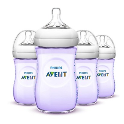 Philips Avent Natural Baby Bottles, Purple, 9 Ounce - 4 Pack, Purple