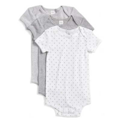 Cotton Bodysuits - Newborn, Grey Ash Heather Pack