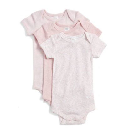 Short Sleeve Cotton Bodysuits - 3M, Pink Baby Pack