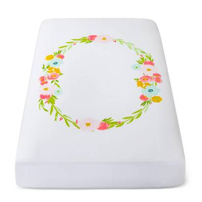 Fitted Crib Sheet Floral Wreath - Cloud Island™ - White