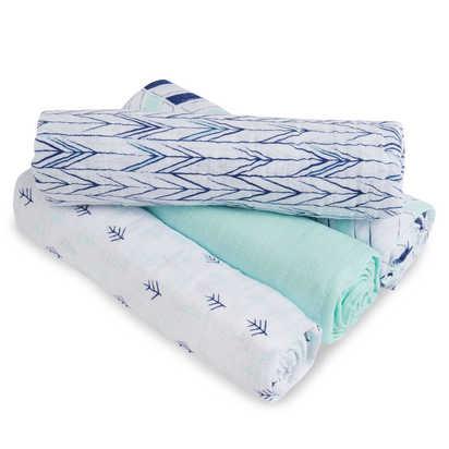 aden® by aden + anais® Indigo Trail Muslin 4-Pack swaddleplus® Blankets