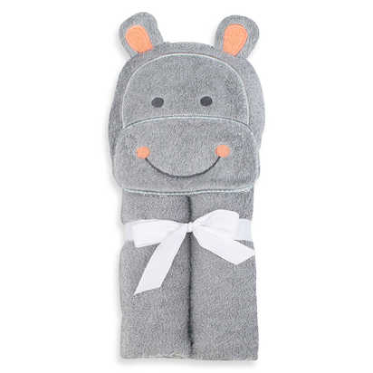 Just Bath by Just Born™ Love to Bathe Woven Hippo Hooded Towel in Grey