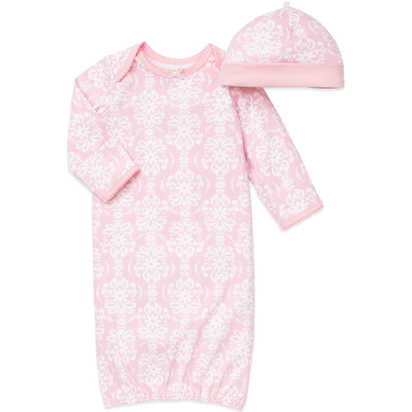 Little Me® 2-Piece Damask Scroll Newborn Gown and Hat Set in Pink