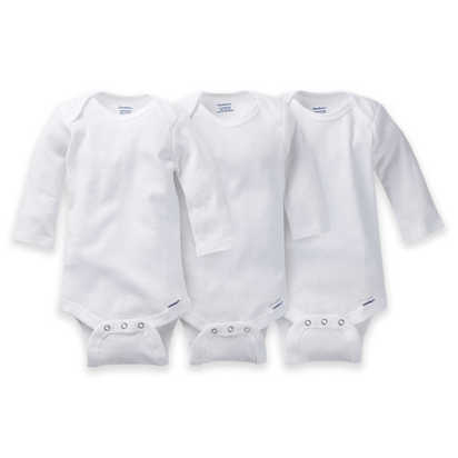 Gerber ONESIES® Brand 3-Pack Long Sleeve Bodysuits (Newborn) - White