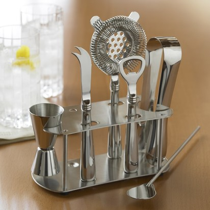Stainless-Steel Bar Tools Set with Stand