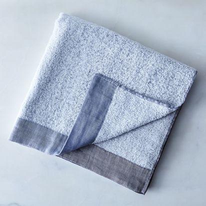 Soft Linen & Cotton Colorblock Towels - Bath Towel, Grey