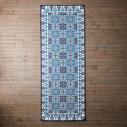 Mediterranean Vinyl Kitchen Runners - Blue + White