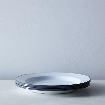 White & Grey Enamel Dinnerware - Dinner Plates (Set of 4)