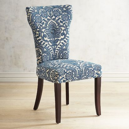 Carmilla Collection Blue Damask Dining Chair