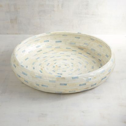 Blue & White Capiz Round Tray