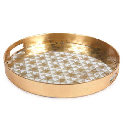 Decorative 13-Inch Round Serving Tray - Gold