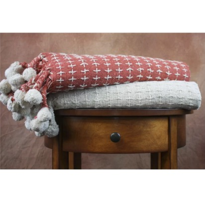Cross Stitch Cotton Throw Blanket - Ivory/Spice