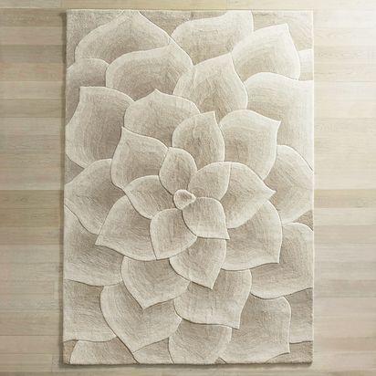 Rose Tufted Ivory Rug - 8x10, Ivory
