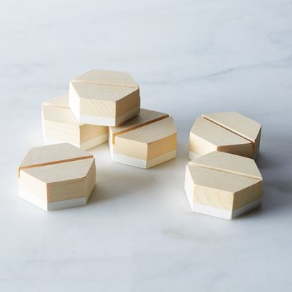 Geometric Placecard Holders (Set of 6) - White Dipped Cedar