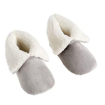 Cozy Sherpa Booties - Medium, Smoke Gray